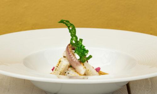 Gnocchetti di Calamaro su fonduta di zucca all'arancia dello Chef Rocco di Marzo, StraVento, Ristorate di pesce a Trapani