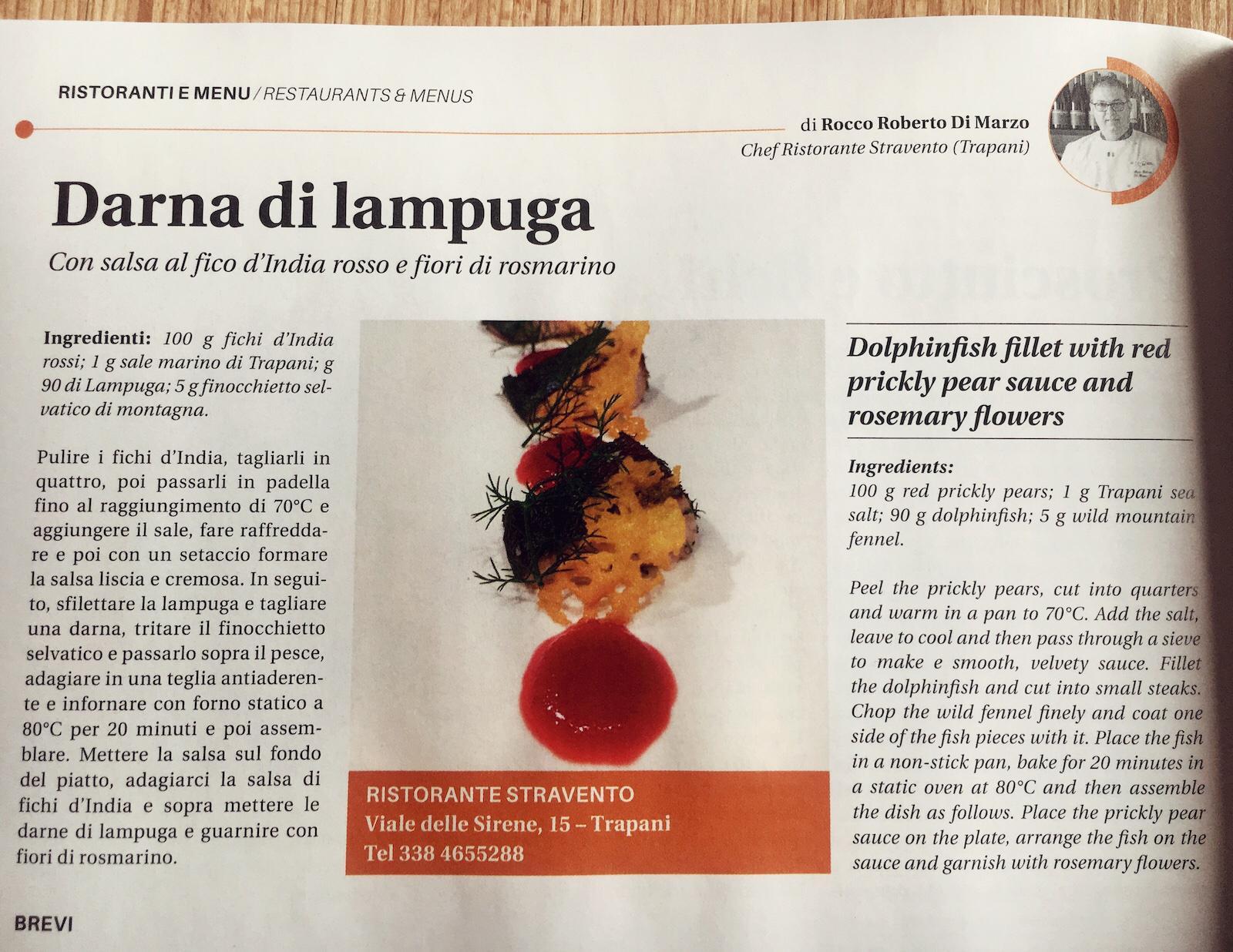 Zafferano Magazine con ricetta dello Chef del Ristorante Stravento Rocco di Marzo