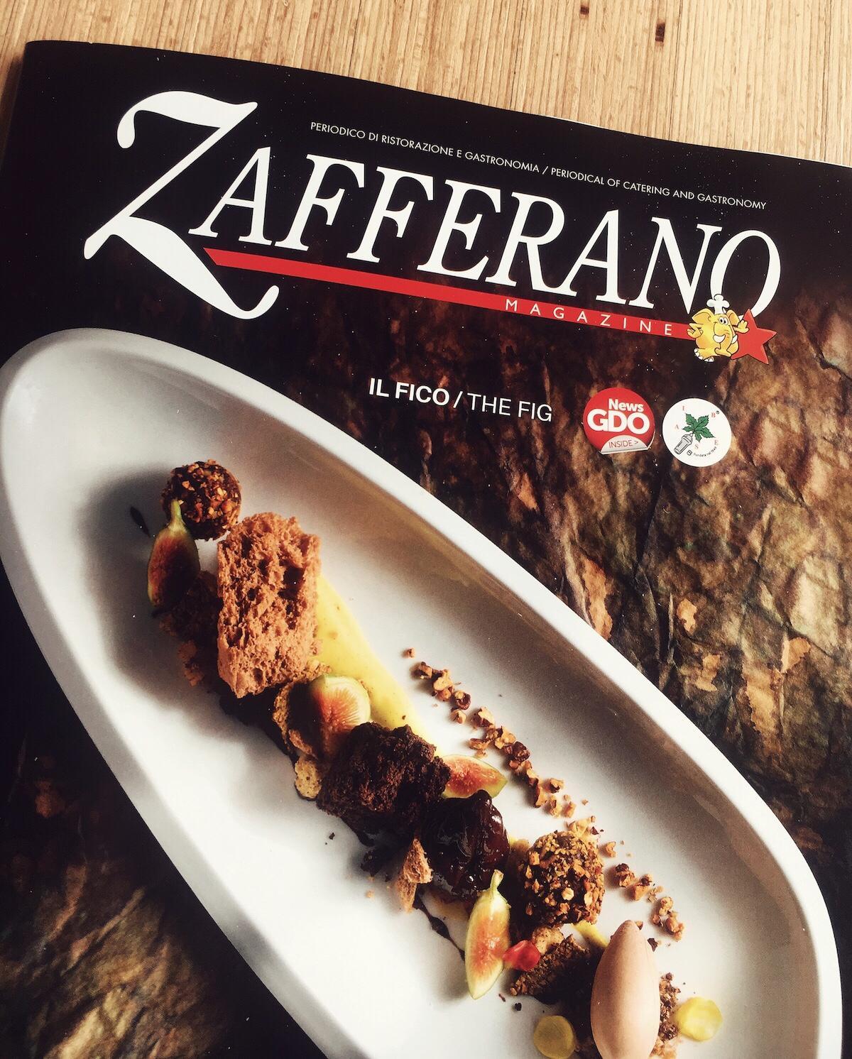 Copertina di dicembre 2018 di Zafferano Magazine con una ricetta dello Chef del Ristorante Stravento Rocco di Marzo